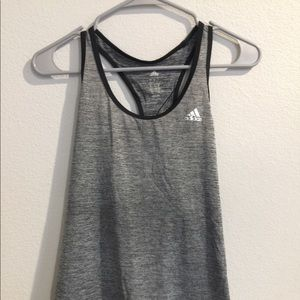 Dark gray work out tank top.